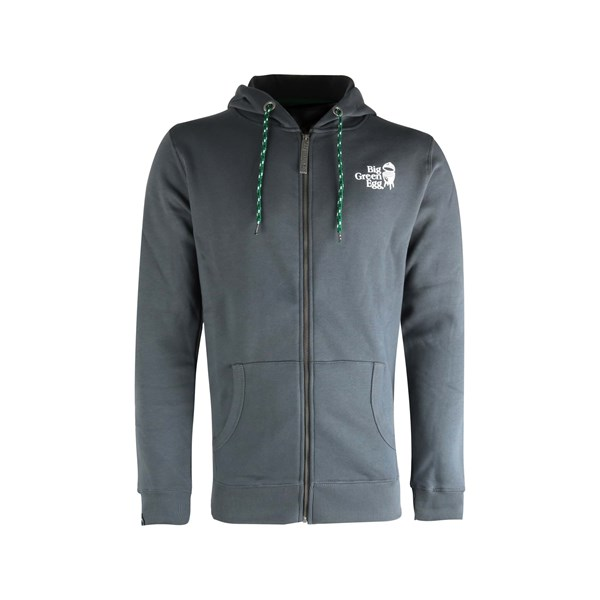 Afbeelding van BIG GREEN EGG HOODIE WITH ZIPPER - DARK GREY - XLARGE